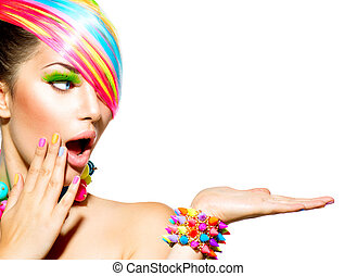 manželka, barvitý, vlas, kráska, makeup, drápy, příslušenství
