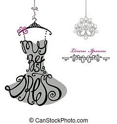 manželka, chandelier., šablona, dress., nejlépe, silhouette., rozmluvy, obléci