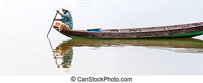 manželka, dřevěný, asia., vietnam, řeka jet parníkem