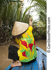 manželka, džungle, vietnam, člun