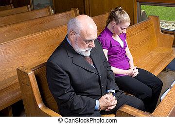 manželka, kostelní lavice, církev, starší, prosit, kavkazský, voják