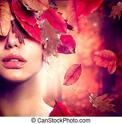 manželka, móda, portrait., podzim, podzim