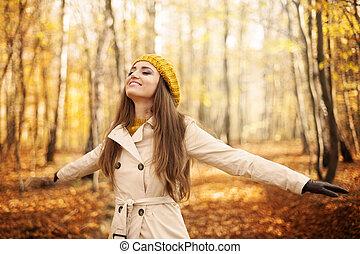 manželka, mládě, podzim, druh, udělat si rád