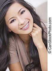 manželka, orientální, usmívaní, číňan, asijský, překrásný
