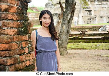 manželka, portrét, thajsko, troska, ayutthaya