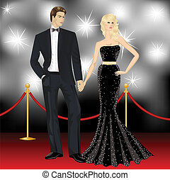 manželka, slavný, paparazzi, dvojice, vkusný, móda, přepych, čelo, voják, červené šaty pokrýt