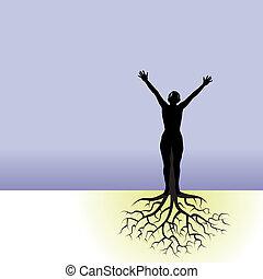 manželka, strom, kořeny