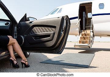 manželka, vůz, konec, příčel, bohatý, aut