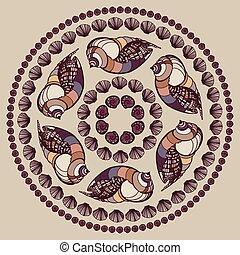 Mandala vyrobena ze racků.