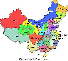 mapa, čína