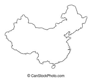 mapa, čína, nárys