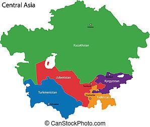 mapa, asie, centrální