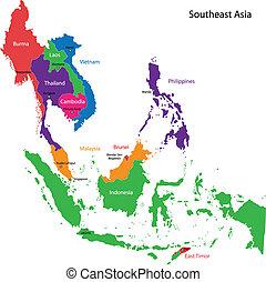mapa, asie, jihovýchodně