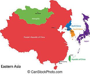 mapa, asie, východní