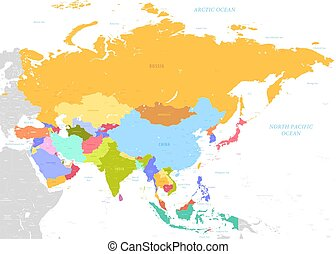mapa, barvitý, asie, jména