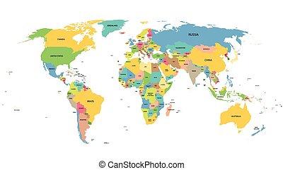 mapa, celý, barvitý, země, jména, společnost