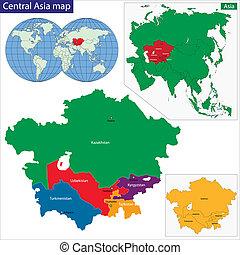 mapa, centrální asia