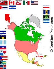 mapa, centrální, země, vlaječka, north america