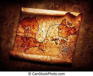mapa, dávný, poklad, grunge, grafické pozadí
