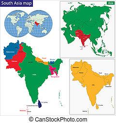mapa, jižní, asie