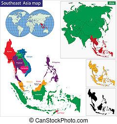mapa, jihovýchodně, asie