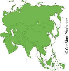 mapa, nezkušený, asie