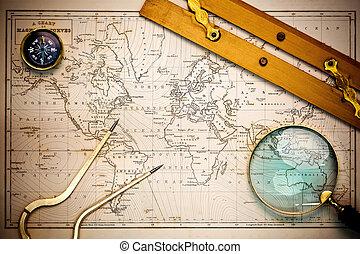 mapa, objects., dávný, navigational