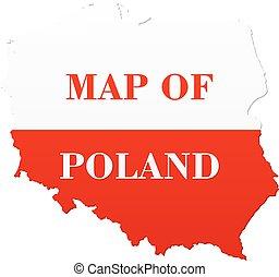 mapa, polsko znamení, národnostní
