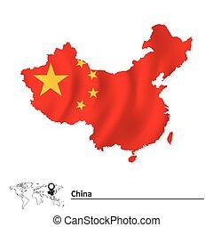 Mapa porcelánu s vlajkou