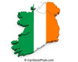 mapa, prapor, republika, irsko, 3