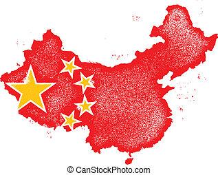 mapa, prapor, vektor, grunge, čína