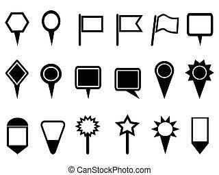mapa, ručička, ikona, navigace