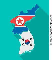 mapa, stín, korea, vlaječka, dlouho