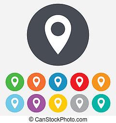 mapa, symbol., usedlost, icon., ručička, gps