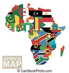 mapa, vektor, afrika, vlaječka