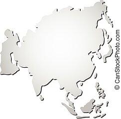 mapa, vektor, asie