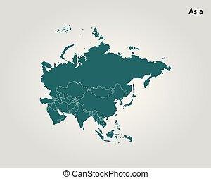 mapa, vektor, illustration., společnost, asia.