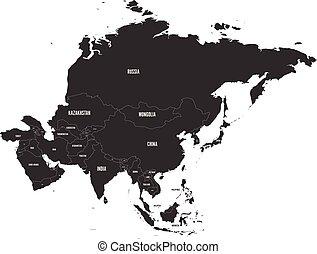 mapa, vektor, veřejný, illustration., asia.