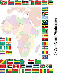 mapa, vektor, vlaječka, ilustrace, afrika.