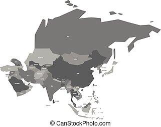 mapa, velmi, veřejný, asie, vektor, zjednodušený, infographical
