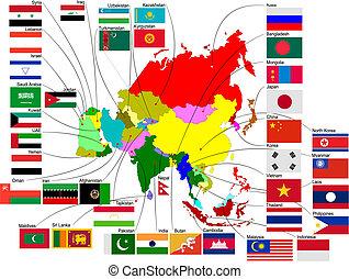 mapa, země, ilustrace, vektor, asie, flags.