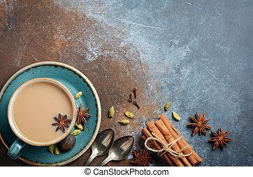 masala, grafické pozadí., dojit, indián, chai, rezavý, koření, čaj, ponurý, tea.