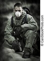 mask., válka, portrair, osoba, plyn, voják