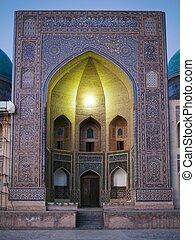 mešita, kalon, -, bukhara, mir-i-arab, medressa