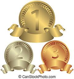 medailé, stříbrný, bronzovat, (vector), zlatý
