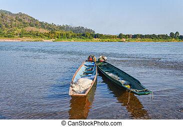 mekong, dřevěný, asie, rybaření, řeka jet parníkem