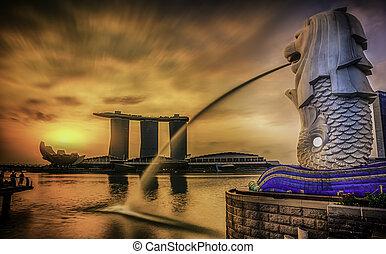 merlion, singapore, mezník