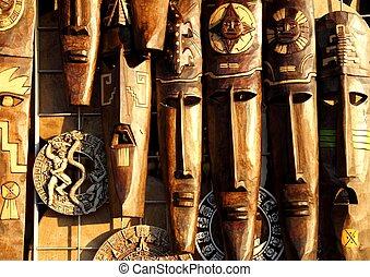 mexičan, hloupý přestrojit, dřevo, postavit se obličejem k, handcrafted