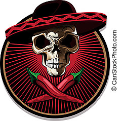 mexičan, symbol, nebo, lebka, ikona
