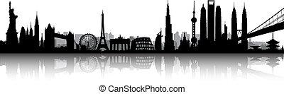 mezinárodní, městská silueta, vektor